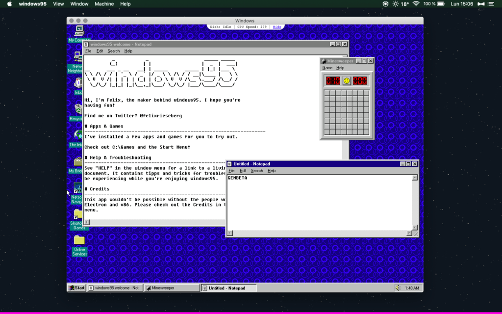 El Windows 95 que sirve como una aplicación en Windows 10, Linux® y Mac® ahora trae Doom, Wolfenstein3D y el glorioso Netscape Navigator