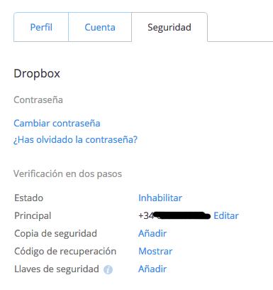 Dropbox Preferencias