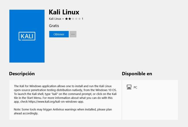 Kali Linux® Windows Descargar Microsoft® Store