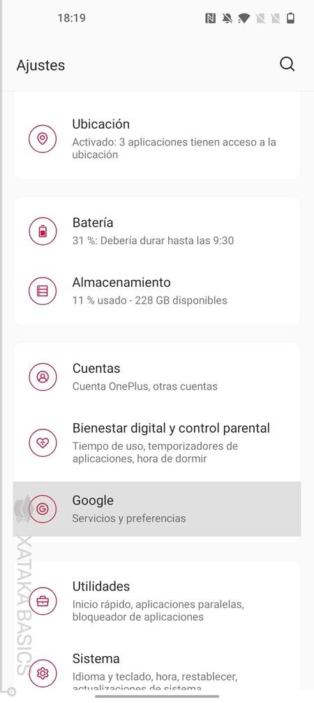 Opciones Google