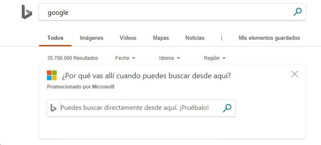 Aviso Bing