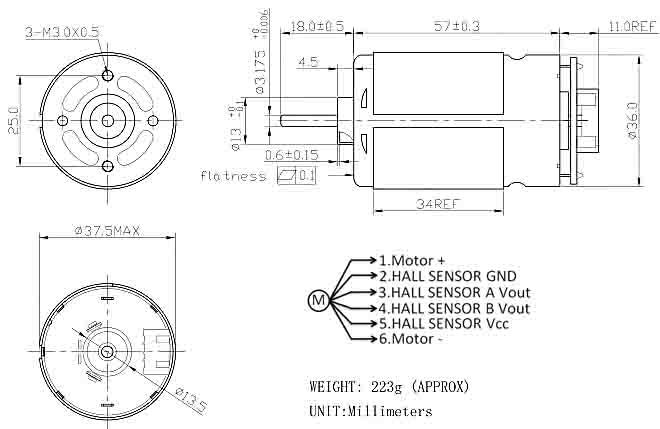 China 12V DC Magnetic Motor With Holzer Encoder, High