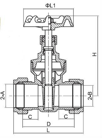 Brass Gate Valve With Compression,Red Hand Wheel China