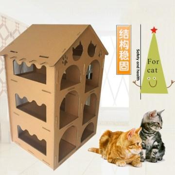 cardboard cat castle house