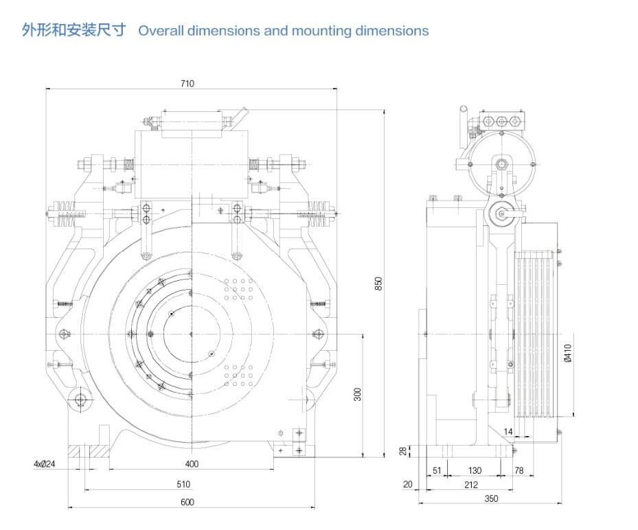 Elevator Gearless Traction Machine 3000kg Shaft Load China