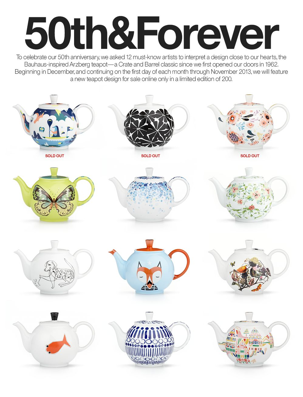 12 teapots from Crate & Barrel