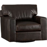 Axis II Leather Swivel Chair - Espresso | Crate and Barrel
