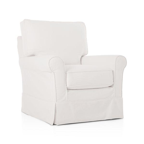crate and barrel davis sofa leather cream fabric corner harborside slipcovered swivel glider - snow |