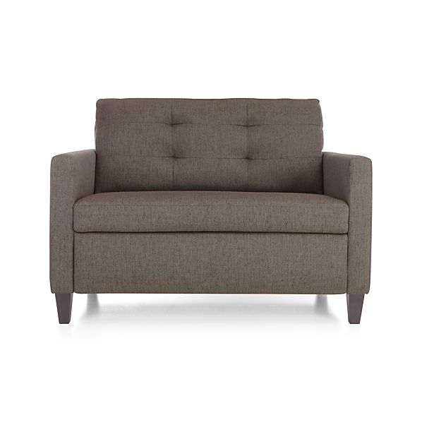 axis sofa reviews claremore by loon peak karnes twin sleeper - storm | crate and barrel
