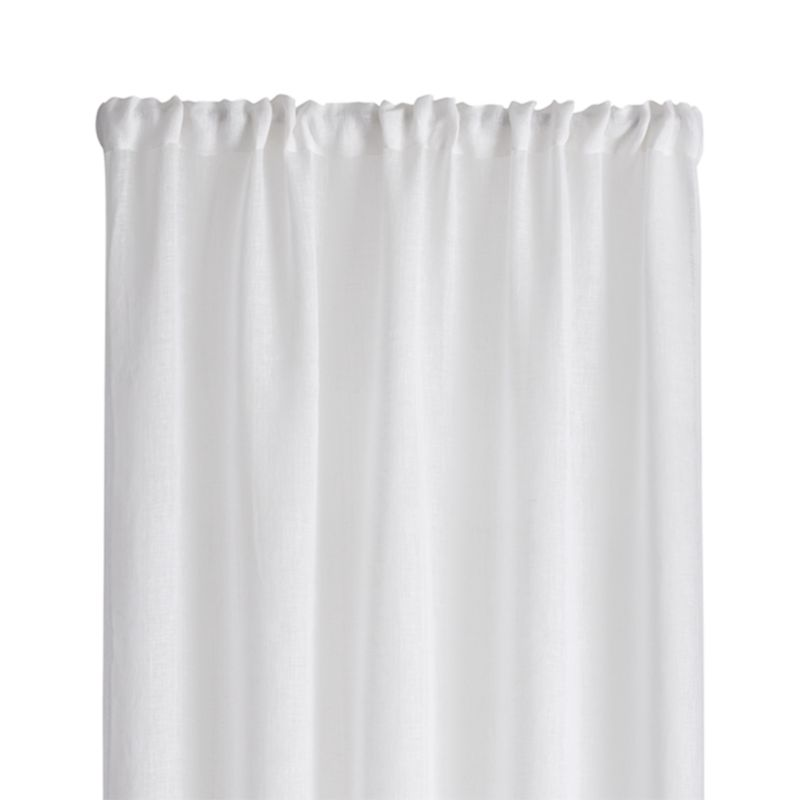 White Linen Sheer 52x63 Curtain Panel Crate And Barrel
