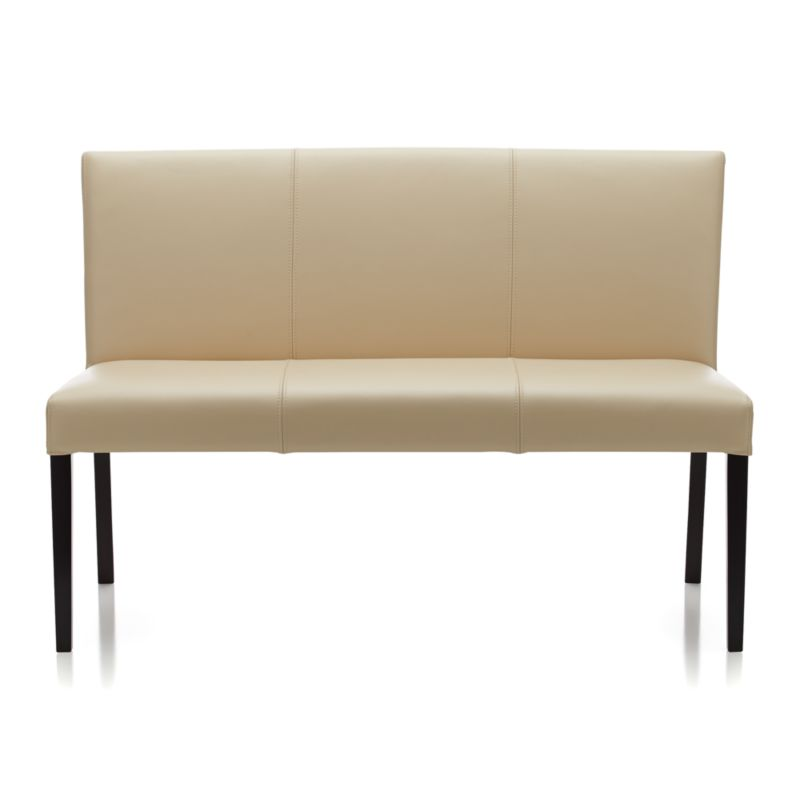 Lowe Ivory Leather Bench In Dining Benches Crate And Barrel