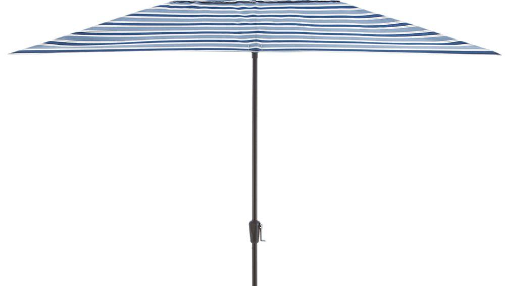 Rectangular Blue Striped Umbrella Canopy in Patio