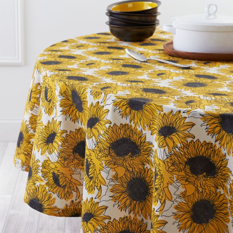 Sunflower 90 Round Tablecloth  Crate and Barrel