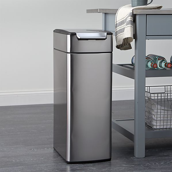 slim kitchen trash can best camp simplehuman ® 10.5-gallon touch-bar | crate ...