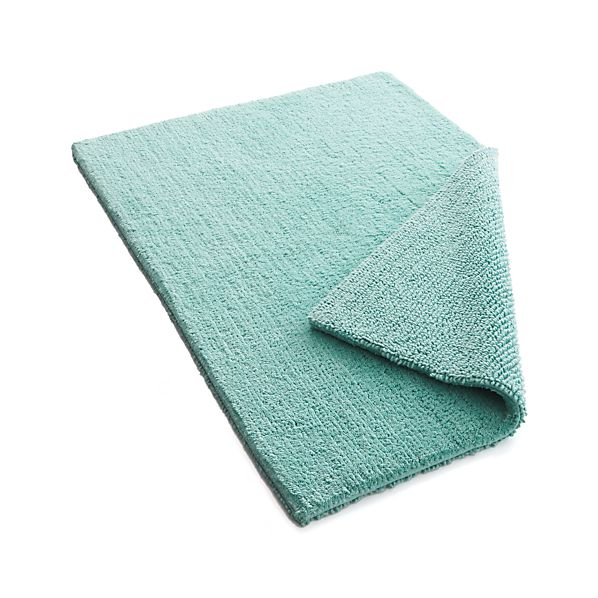 Traverse Reversible Teal Bath Rug  Crate and Barrel