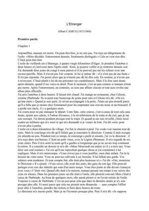 L Incipit De L étranger : incipit, étranger, Calaméo, L'Etranger, Camus