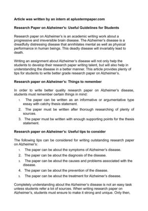 Calaméo Research Paper On Alzheimer's Useful Guidelines For Students