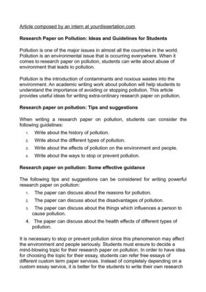 Calaméo Research Paper On Pollution Ideas And Guidelines For Students