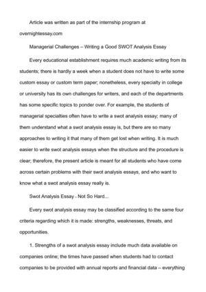 Swot Analysis Essay Swot Analysis Essay Essay Critical Analysis