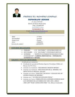 Modelo Curriculum Vitae Actualizado Peru Biodata Format