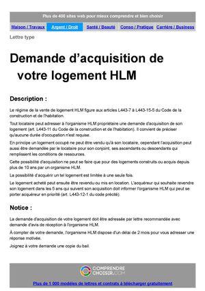 Calamo  DEMANDE DACQUISITION DUN LOGEMENT HLM
