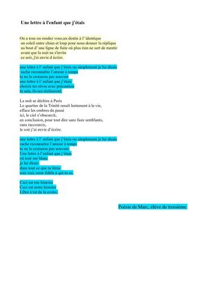 Texte Sans La Lettre E : texte, lettre, Calaméo, Poésie, Lettre, L'enfant, J'étais