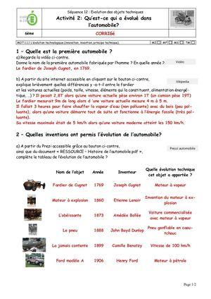 Histoire De L Automobile Pdf : histoire, automobile, Calaméo, Activité2, Corrigé