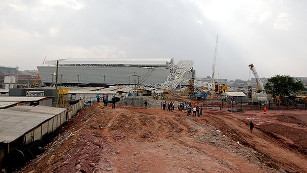A crane collapsed during construction at Itaquerao Stadium on November 27, 2013 in Sao Paulo, Brazil.
