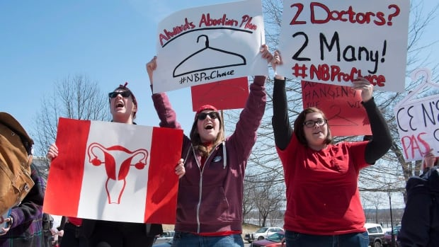 Left to rightL: Jenna Knorr, Erica Knorr and Megan Aiken take part in a protest as pro-choice demonstrators rally at the New Brunswick Legislature in Fredericton on Thursday, April 17, 2014. Hundreds of people gathered in front of the New Brunswick legislature for a pro-choice rally aimed at getting the provincial government to fund abortions at private clinics.