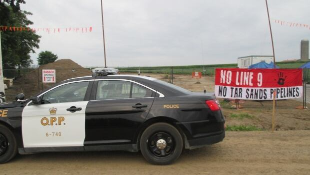 Protesters set up a blockade at an Enbridge pipeline site in southwestern Ontario on Tuesday, disrupting work on what is called Line 9.