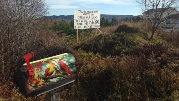 Rick Verge erected this sign to make it clear what his thoughts are on the proposed Energy East pipeline.