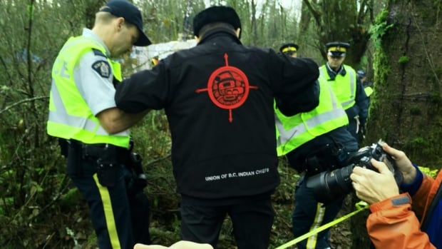 Grand Chief Stewart Phillip of the Union of B.C. Indian Chiefs is arrested by police at the Kinder Morgan protest on Burnaby Mountain on Nov. 27.