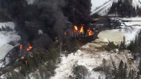 An aerial eastward view on March 7 of a CN train derailment site near Gogama.