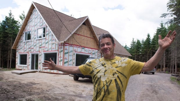 Christian Martin stands on the land given to him by the municipality of Saint-Louis-de-Blandford, Que.