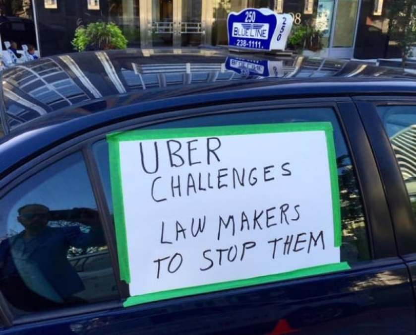 Uber taxi ottawa protest