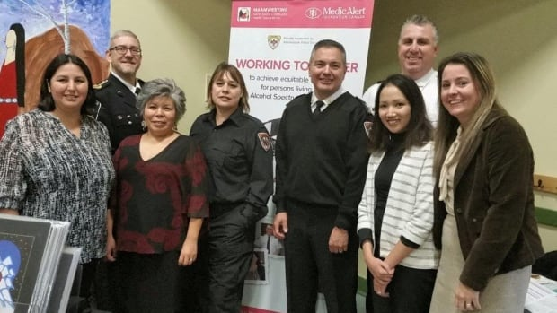 The FASD working group has representatives from Maamwesying Community Health Access Centre (Frances Pine and Priscilla Southwind), Stefanie Reinoso and Catherine Horton (Medic Alert), EMS and Marc Lesage and Chief of Police John Syrette (Anishnawbek Police Services).