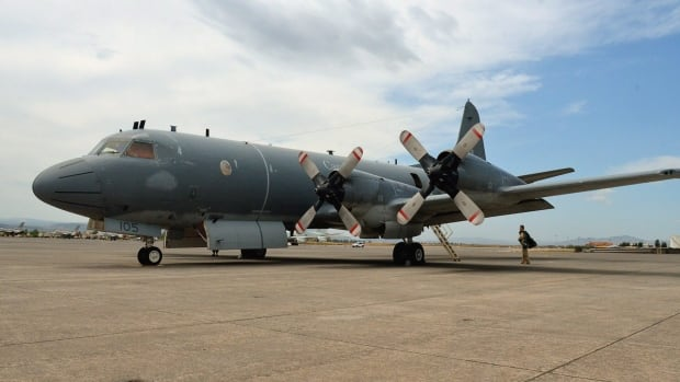 A CP-140 Aurora sits on the tarmac at an the Italian base in Sigonella, Italy, in 2011. An Aurora surveillance plane recently checked out reports of an unusual sound in the Fury and Hecla Strait.