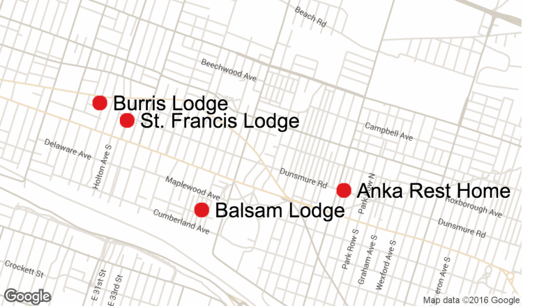 Locations of four residential care facilities that city