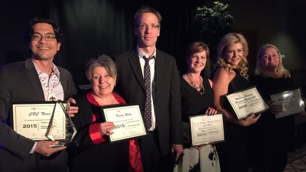 Duncan McCue, Karin Wells, Nick Purdon, Diana Swain, Natalie Clancy and Margaret Evans were among the CBC News journalists who took home CAJ awards on Saturday night.