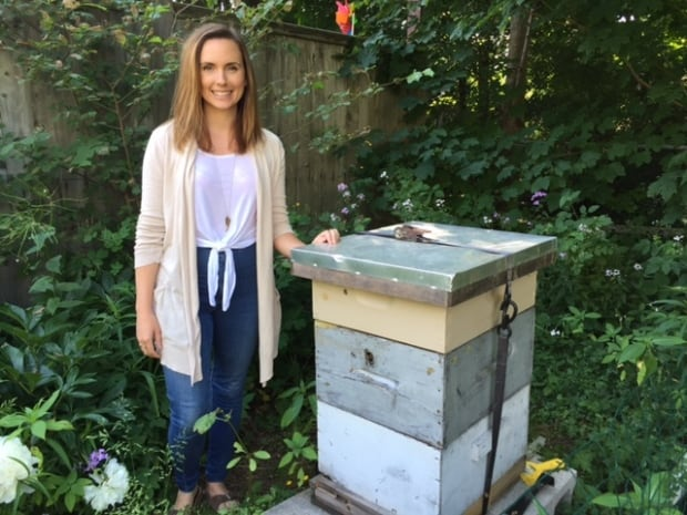 Tara Lapointe and her bee hive