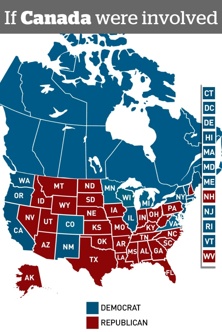 Canadian Election Map : canadian, election, Democrats, Would, Donald, Trump, Landslide, Canada, Joined, Union
