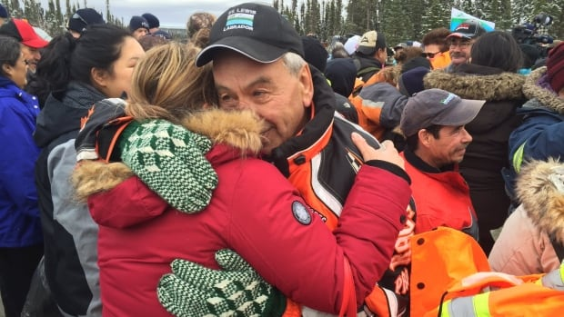 It was an emotional scene outside the gates of the Muskrat Falls work camp after protesters who had occupied the site exited on Wednesday afternoon.
