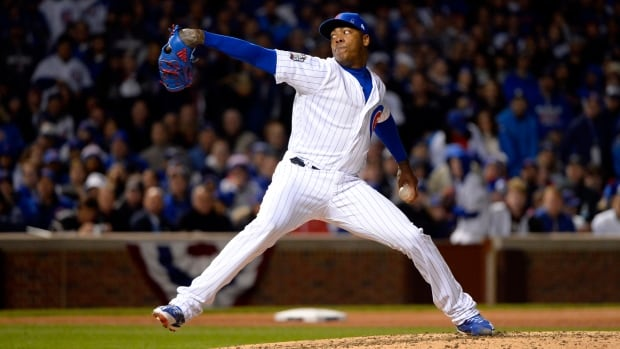 Aroldis Chapman got eight outs in the longest relief appearance of his career and the Chicago Cubs held off Cleveland 3-2 Sunday night, cutting the Indians' lead in the World Series 3-2.