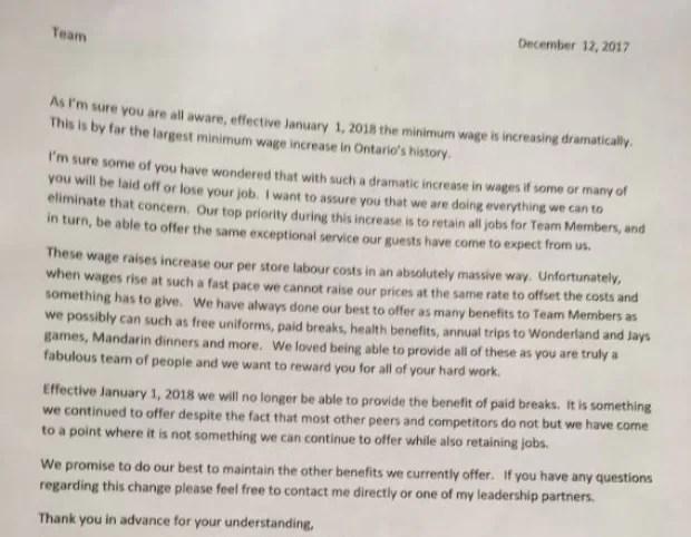 Multiple Tim Hortons franchises, other businesses cut pay