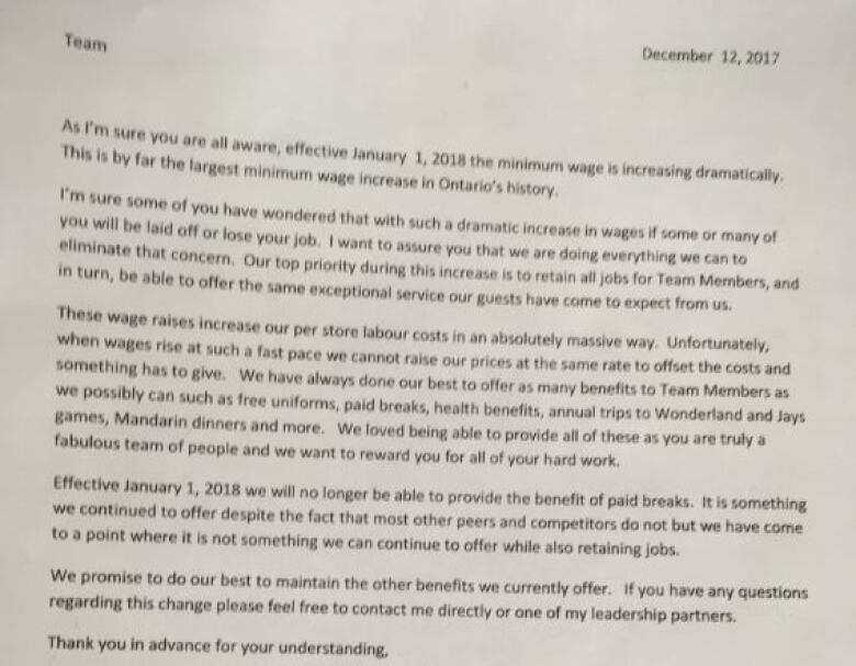Employees say this memo was sent to workers at six Tim