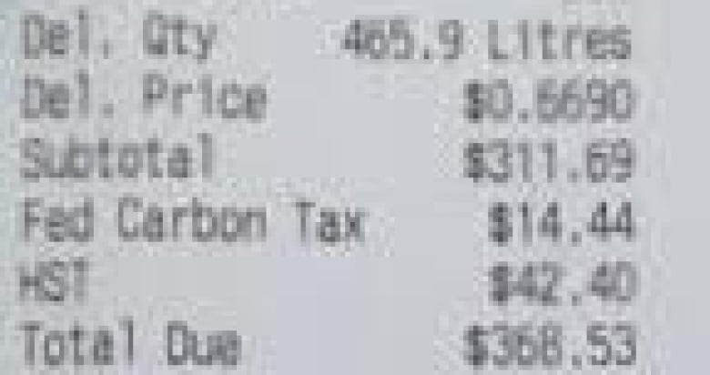 Deb Richmond's receipt for her monthly delivery of propane