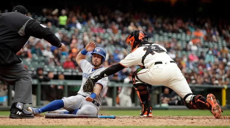 aptopix blue jays giants baseball - Jackson solid in history-making start for Jays, but Giants get the win