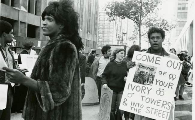 Marsha P Johnson Hands Out Flyers In Support Of Gay