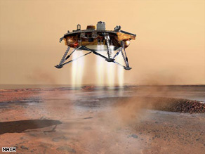 An artist rendering of the landing of the Phoenix mars lander.