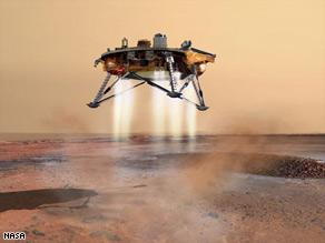 An artist rendering of the landing of the Phoenix mars lander.